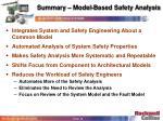 summary model based safety analysis