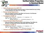 verified safety properties in nominal model