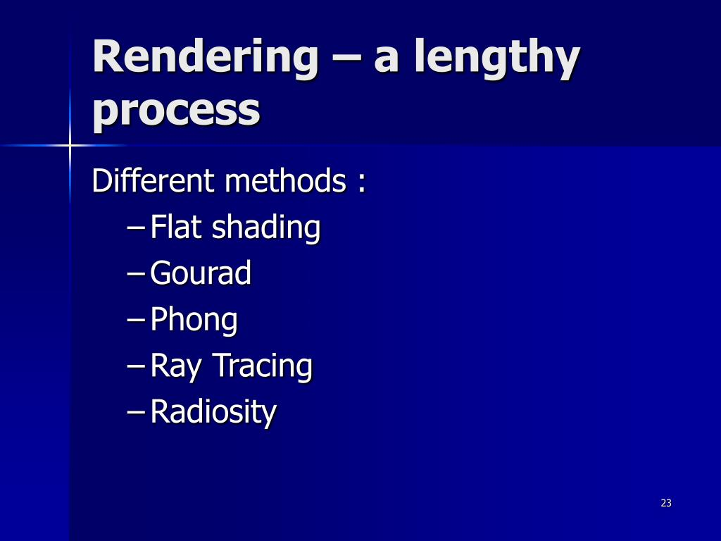 Rendering – a lengthy process