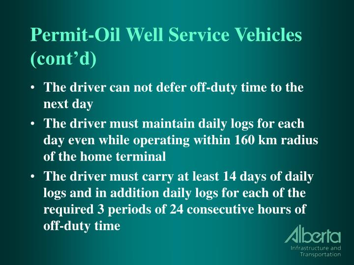 Permit-Oil Well Service Vehicles (cont'd)