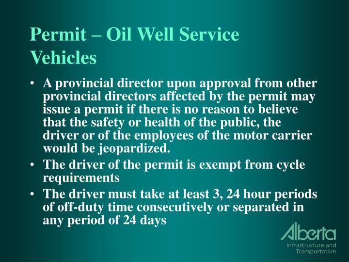 Permit – Oil Well Service