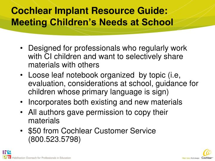Cochlear Implant Resource Guide: