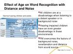 effect of age on word recognition with distance and noise