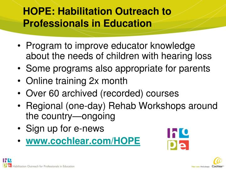 HOPE: Habilitation Outreach to Professionals in Education