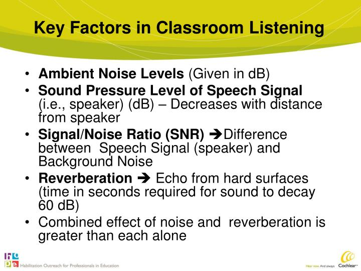 Key Factors in Classroom Listening