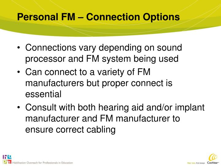 Personal FM – Connection Options