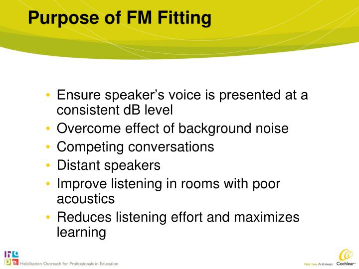 Purpose of FM Fitting