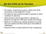 set the child up for success