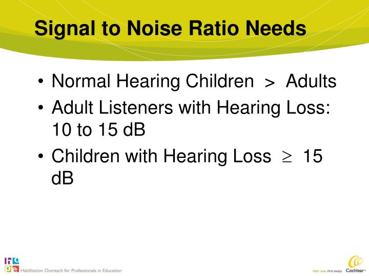 Signal to Noise Ratio Needs