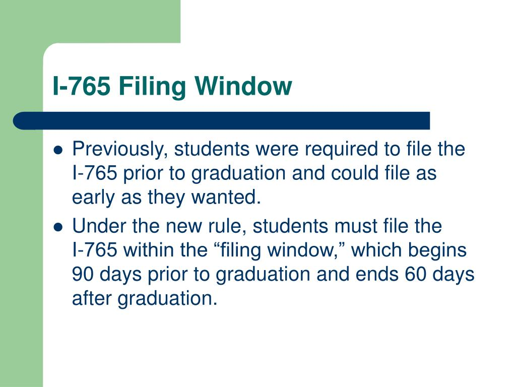 I-765 Filing Window