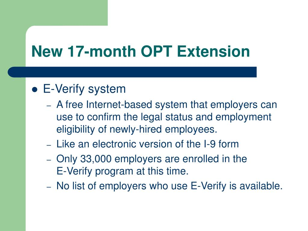 New 17-month OPT Extension