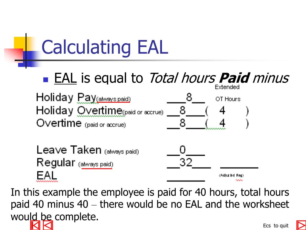 Calculating EAL
