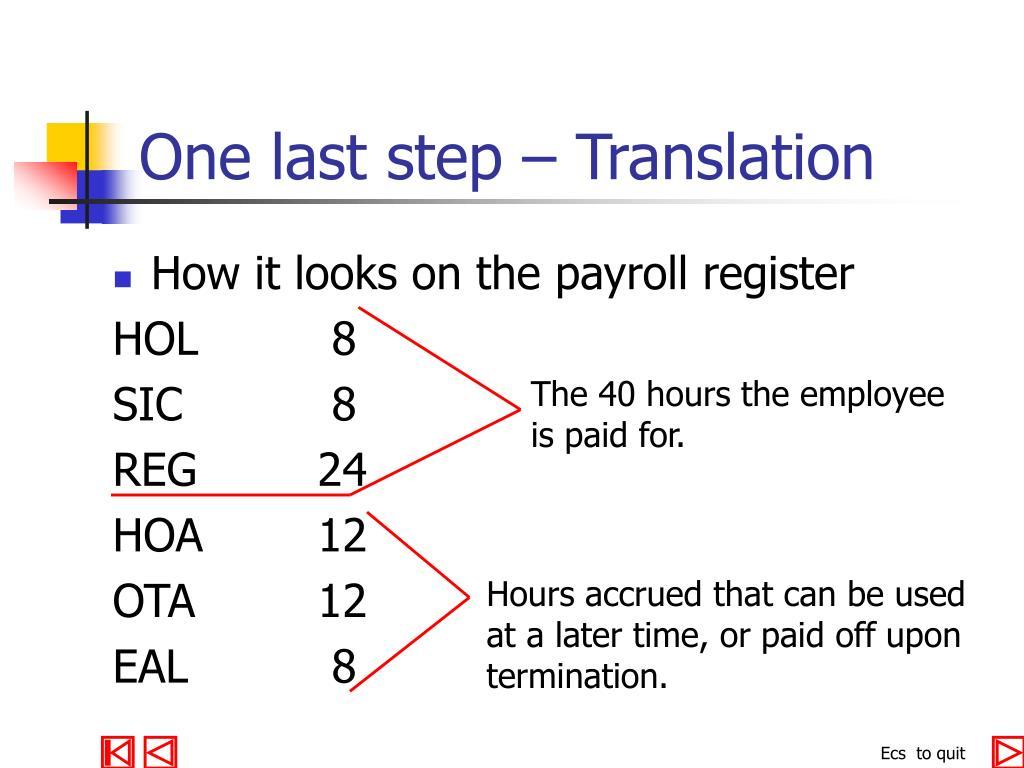 One last step – Translation