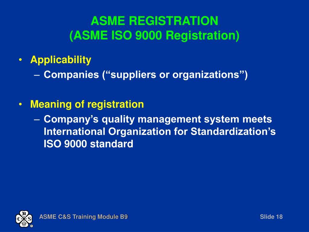 ASME REGISTRATION