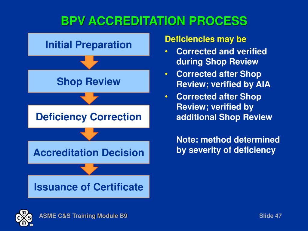 BPV ACCREDITATION PROCESS