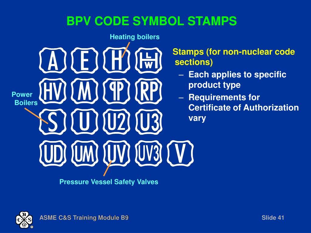 BPV CODE SYMBOL STAMPS