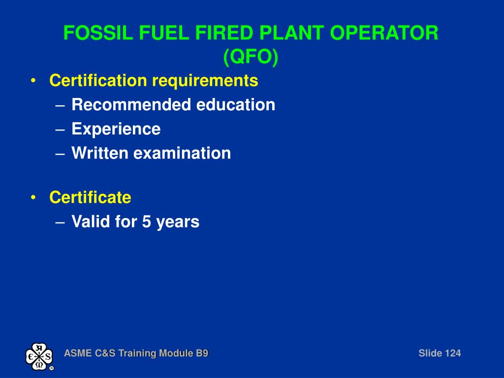 FOSSIL FUEL FIRED PLANT OPERATOR (QFO)