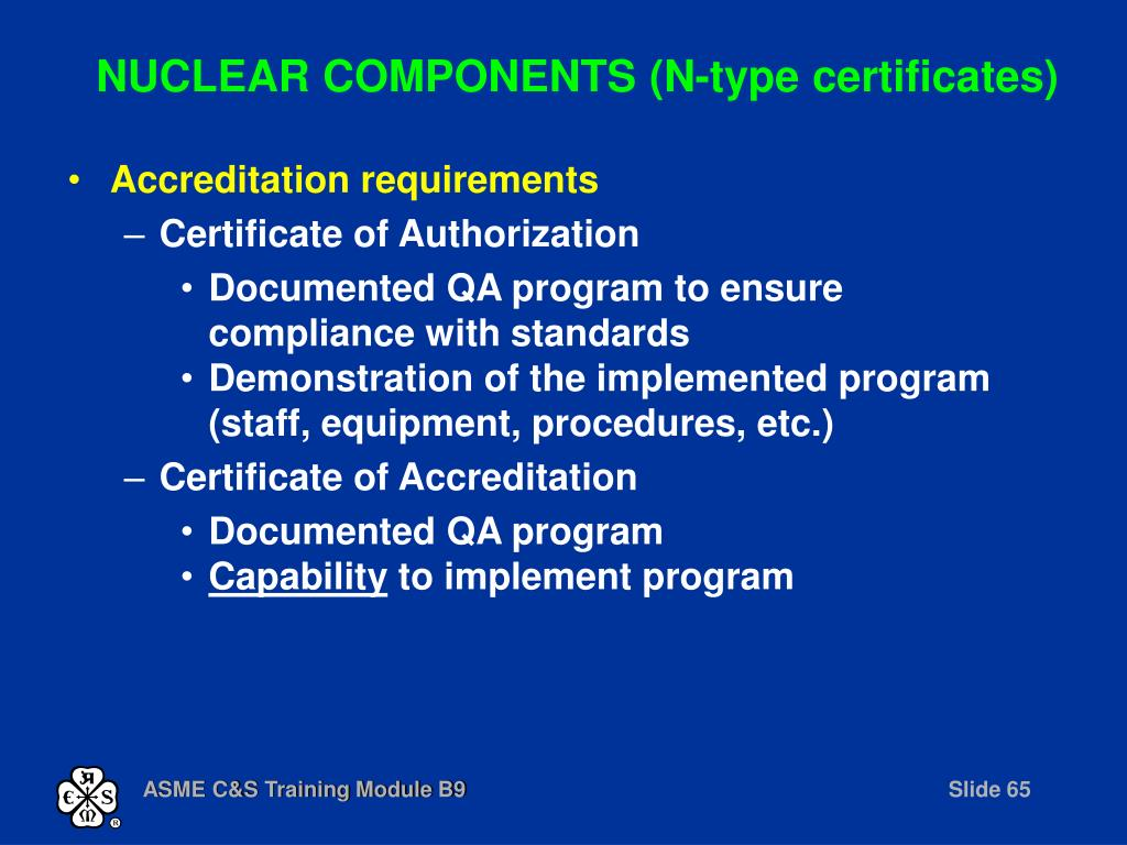 NUCLEAR COMPONENTS (N-type certificates)