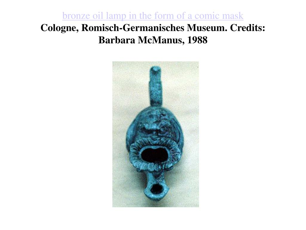 bronze oil lamp in the form of a comic mask