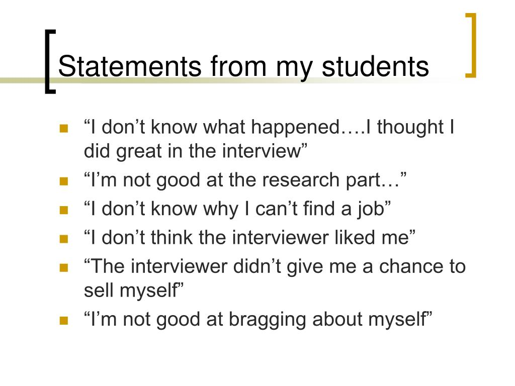 Statements from my students