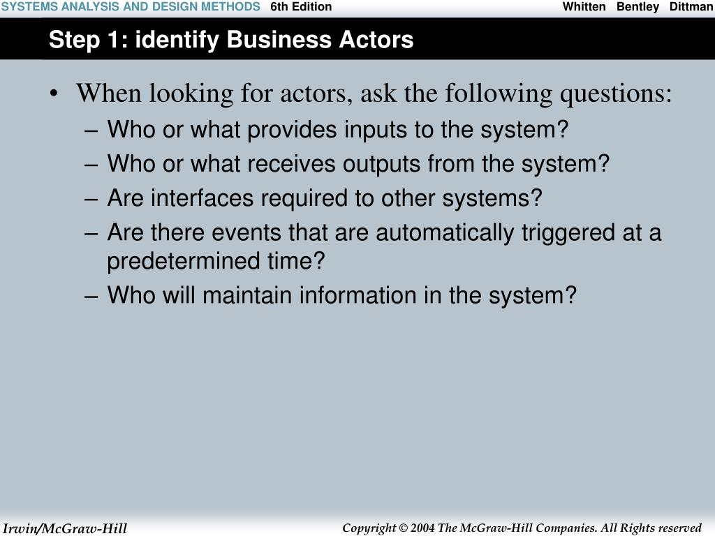 Step 1: identify Business Actors