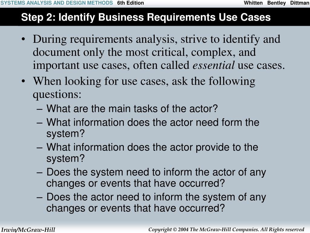 Step 2: Identify Business Requirements Use Cases