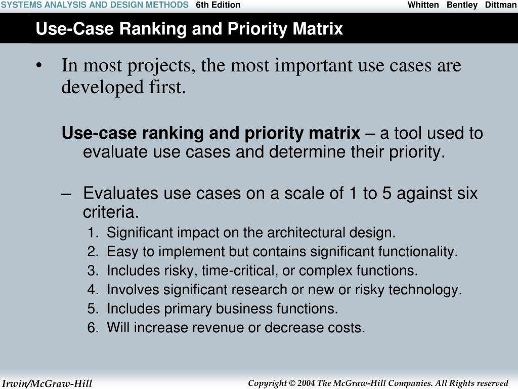 Use-Case Ranking and Priority Matrix