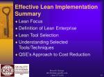 effective lean implementation summary