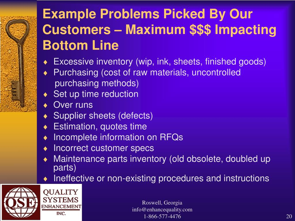 Example Problems Picked By Our Customers – Maximum $$$ Impacting Bottom Line
