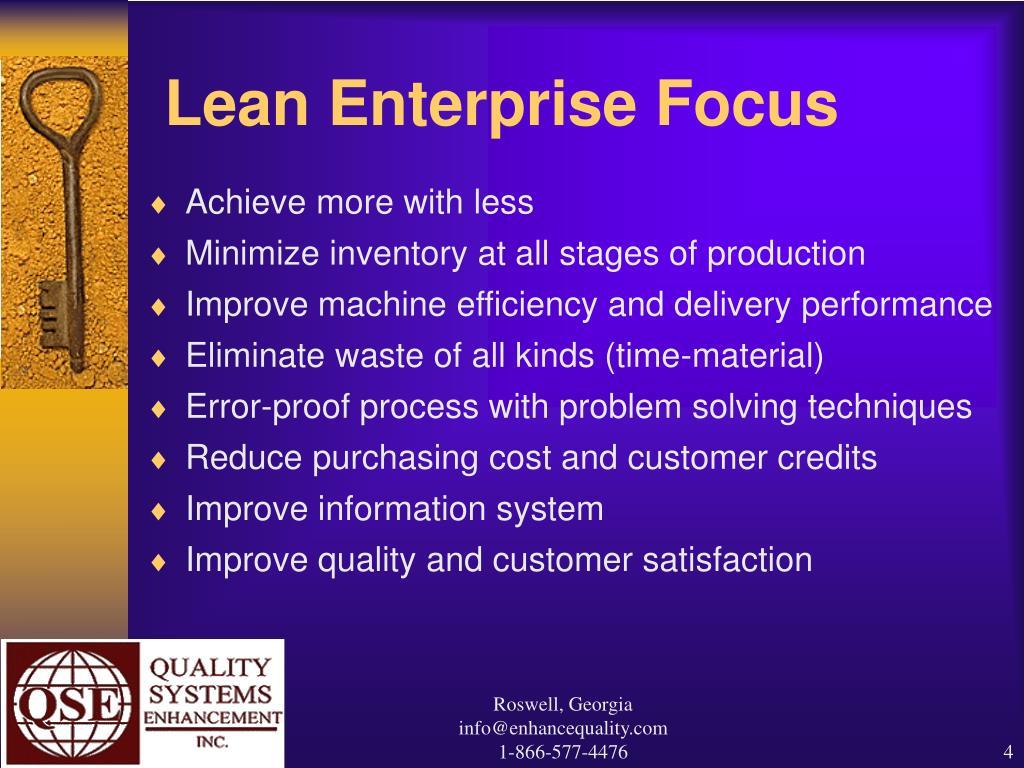 Lean Enterprise Focus