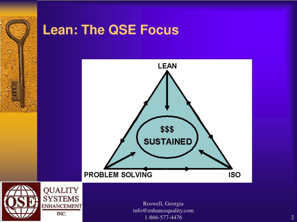 Lean: The QSE Focus