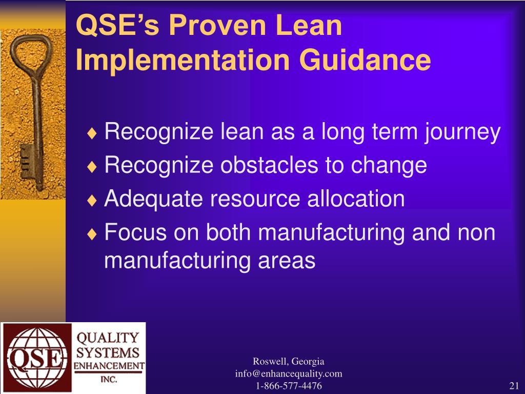 QSE's Proven Lean Implementation Guidance
