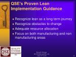 qse s proven lean implementation guidance