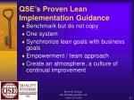 qse s proven lean implementation guidance22