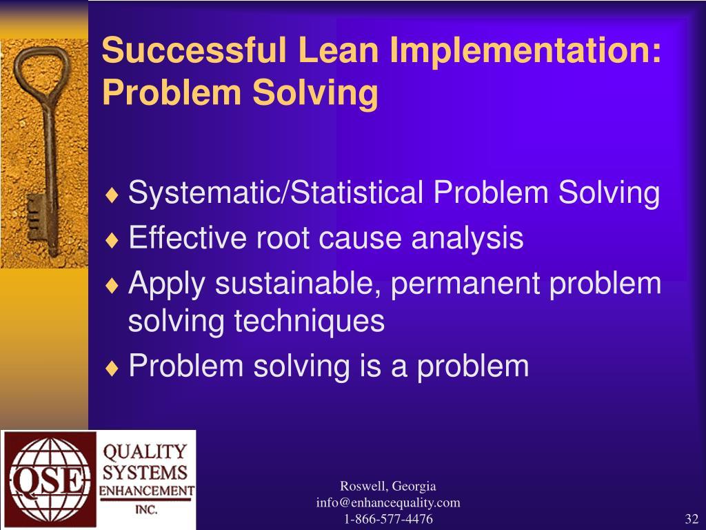 Successful Lean Implementation: Problem Solving