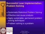 successful lean implementation problem solving