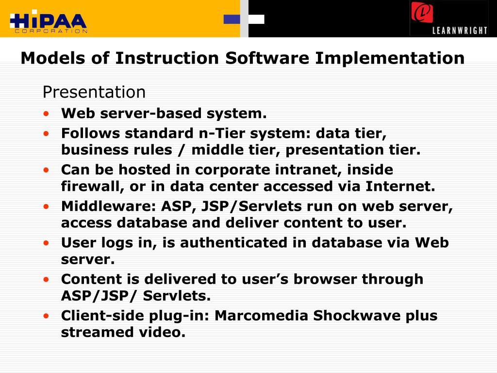 Models of Instruction Software Implementation