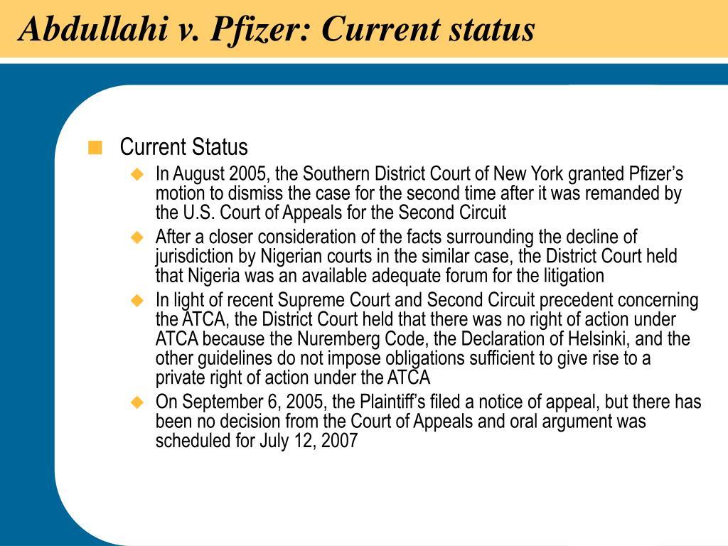 Abdullahi v. Pfizer: Current status
