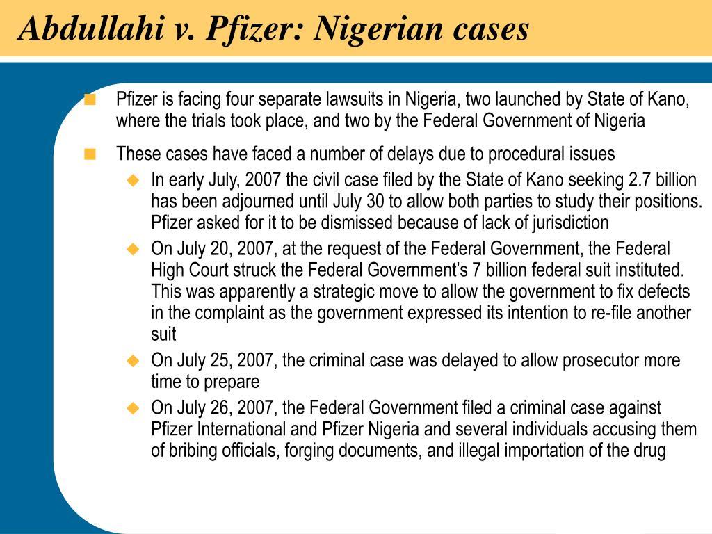Abdullahi v. Pfizer: Nigerian cases