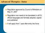 advanced therapies status