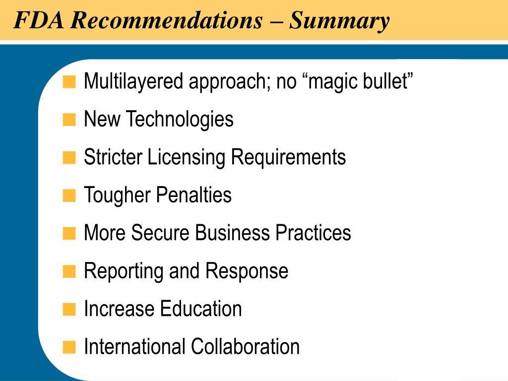 FDA Recommendations – Summary
