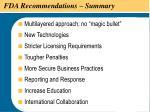 fda recommendations summary