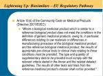 lightening up biosimilars eu regulatory pathway