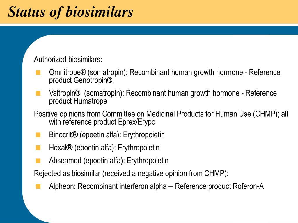 Status of biosimilars