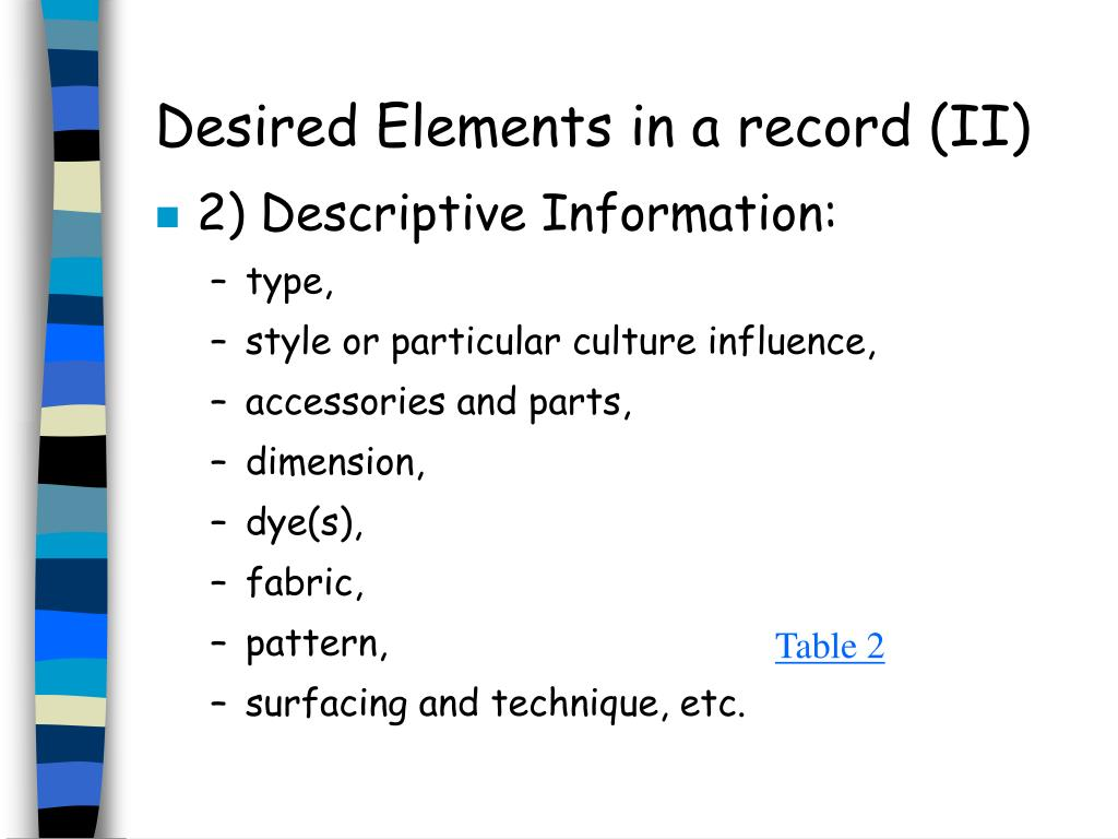 Desired Elements in a record (II)