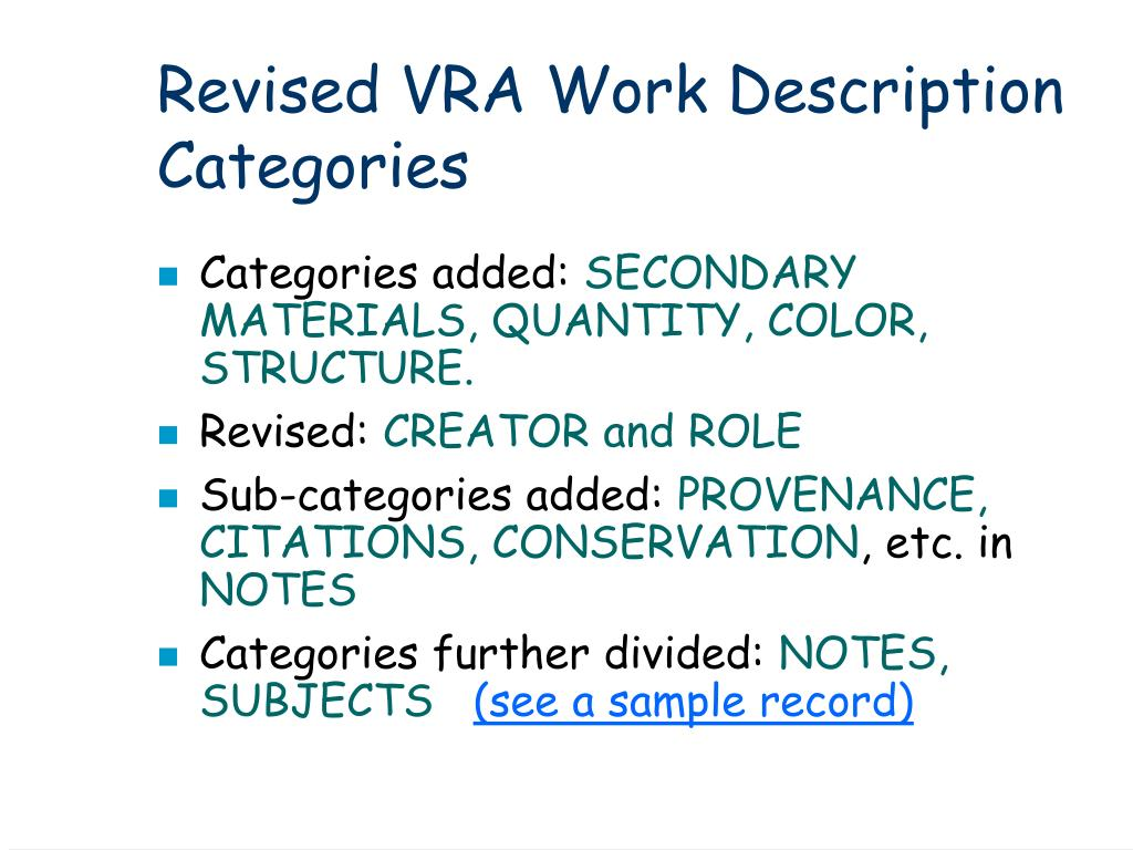 Revised VRA Work Description Categories
