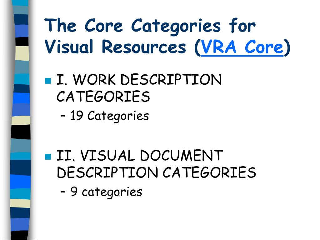 The Core Categories for Visual Resources (