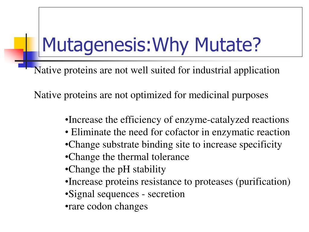 Mutagenesis:Why Mutate?