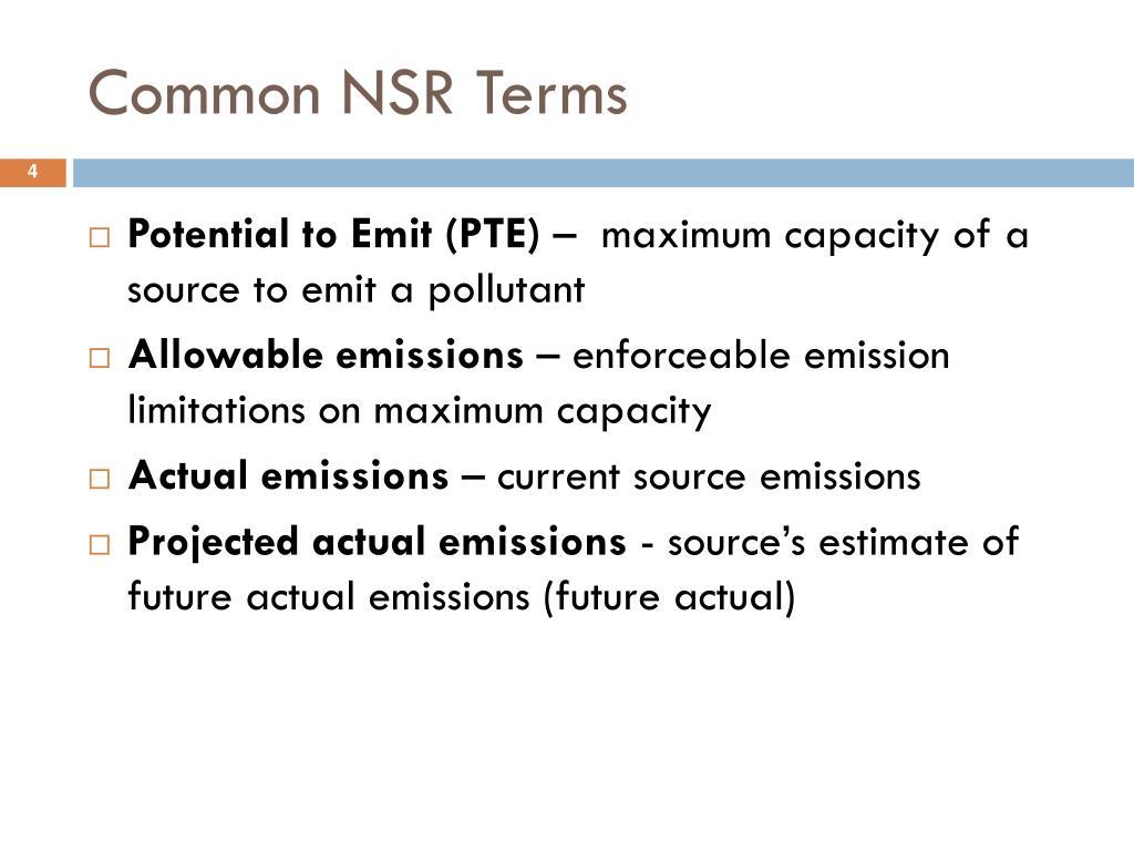 Common NSR Terms