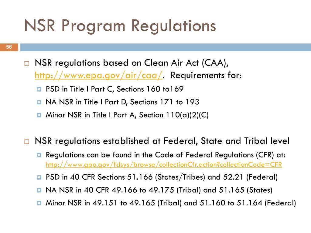 NSR Program Regulations